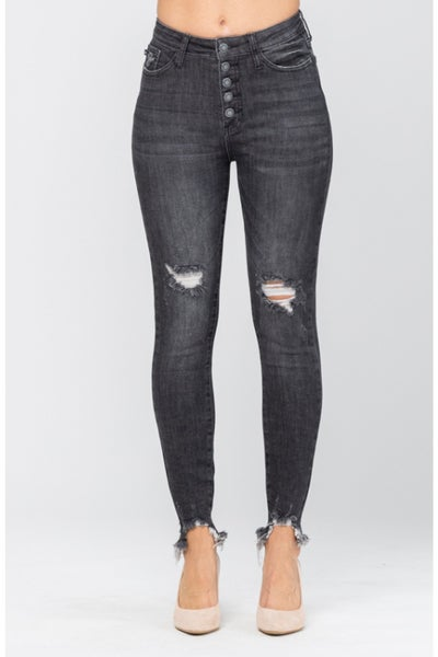 SIZE 1 ONLY - Judy Blue Destroyed Button Fly Black Skinny Jeans