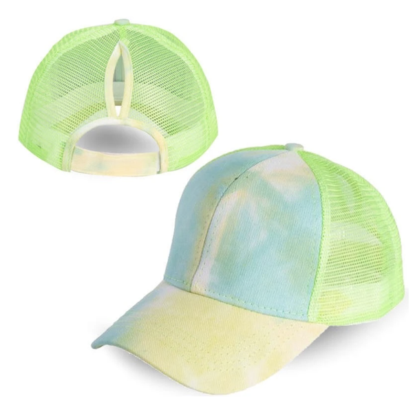 Yellow & Green Tie Dye Ponytail Cap