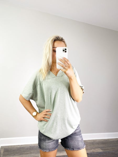 Cotton Slub Rib V-Neck Top in Sage