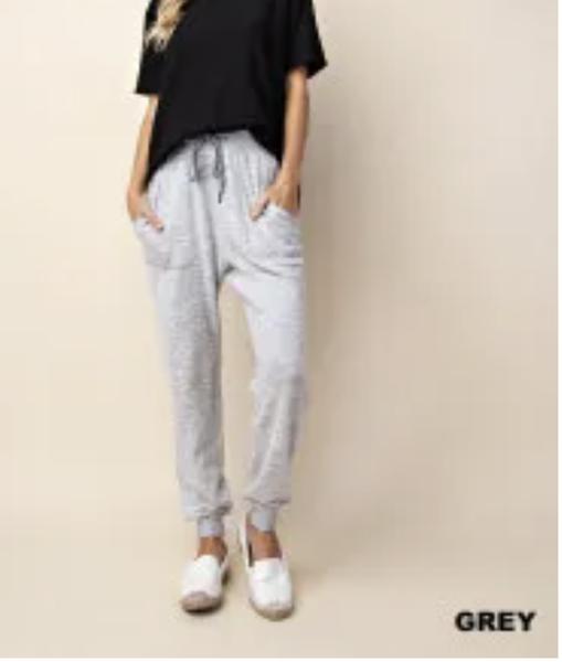 Soft Brush Jogger Pants-Grey