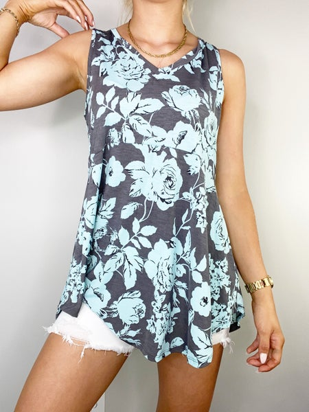 Gray and Aqua V-Neck Top in ITY