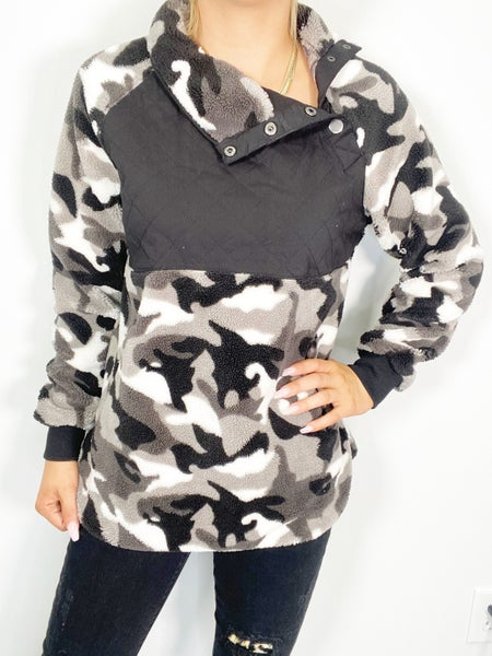 SMALL ONLY - Long Sleeve Camouflage Fleece Sweater