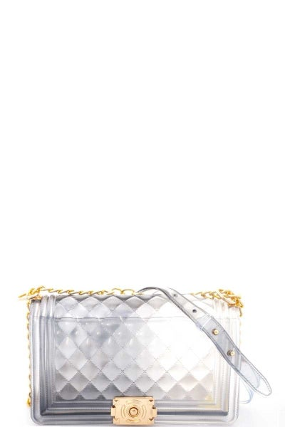 *USE CODE GOTTAGO* TWO-TONED JELLY QUILTED SHOULDER BAG CLEAR
