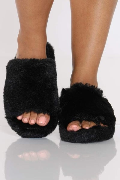Qupid Black Faux  Fur Sandals