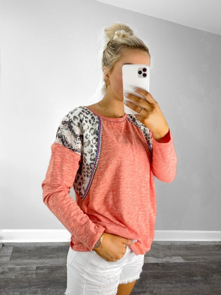 Two Toned Knit Top with Print Block Shoulder in Coral