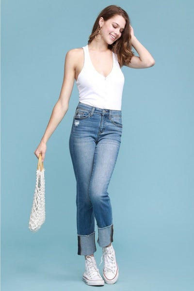 JUDY BLUE STRAIGHT LEG CUFFED JEANS