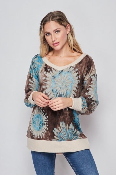 3XL ONLY - HoneyMe Brown and Blue Off the Shoulder Top