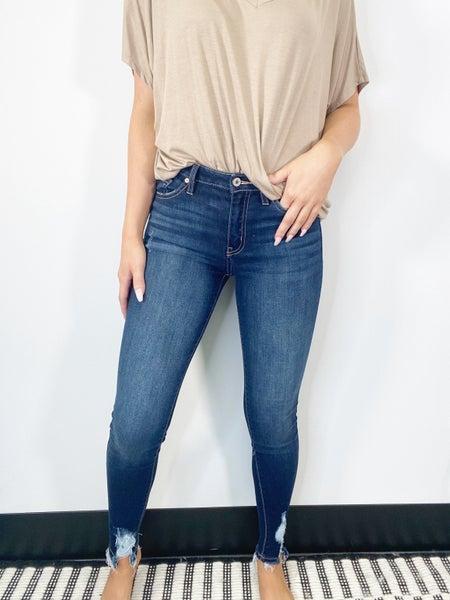Kancan High Rise Hem Detail Super Skinny Jeans