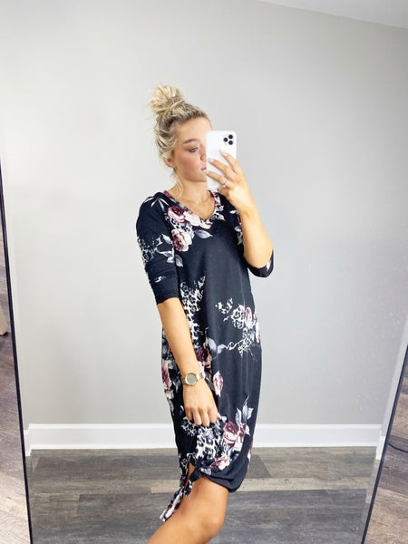 HoneyMe Black and Mauve Floral Dress