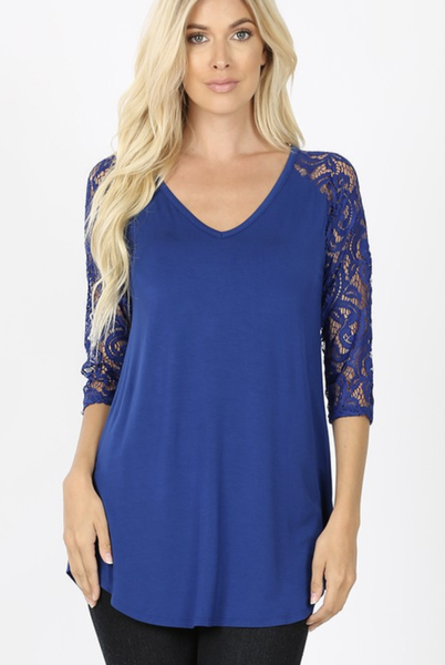 Luxe Rayon Lace Sleeve with V-Neck and Dolphin Hem ***Multiple Colors