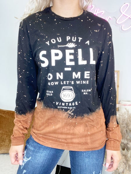You Put A Spell On Me Long Sleeved Bleached Graphic Tee