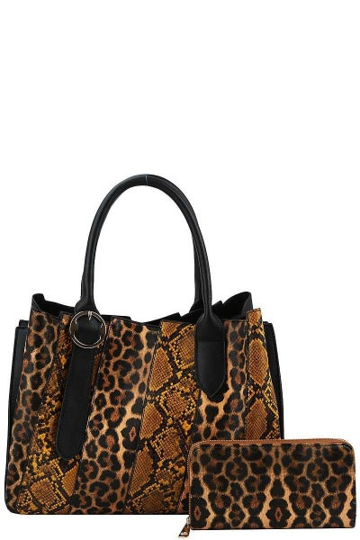 2 in 1 Animal Print Handbag with Matching Wallet ***Multiple Colors