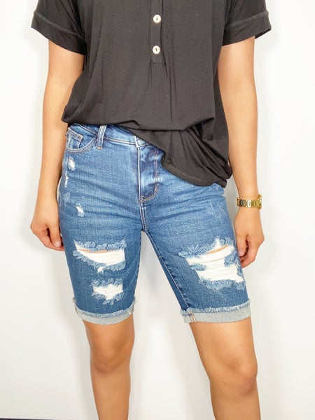 SMALL ONLY Destroyed Bermuda Shorts