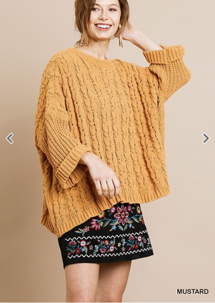 Umgee Long Sleeve Chenille Cable Knit Sweater