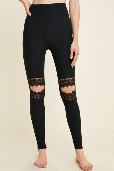 SMALL ONLY-Black Lace Cutout Leggings - TRUE TO SIZE