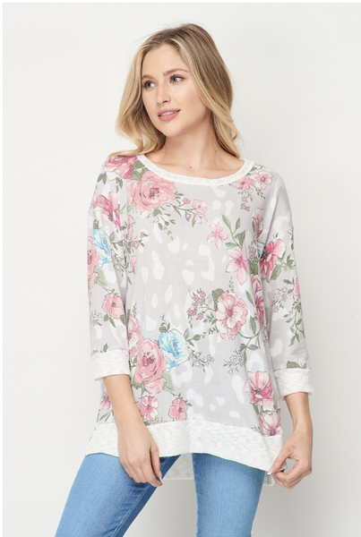 HoneyMe Gray and Pink Floral Top