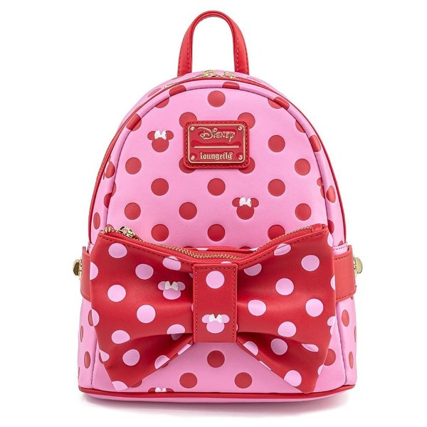LOUNGEFLY X DISNEY MINNIE MOUSE PINK & RED POLKA DOT BOW MINI BACKPACK WITH FANNY PACK