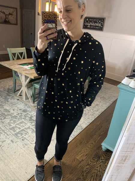 SMALL & MED ONLY - Black & Gold Star Loose Fit Hoodie Top
