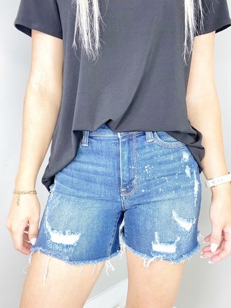 Judy Blue Mid-Rise Bleach Splattered Shorts