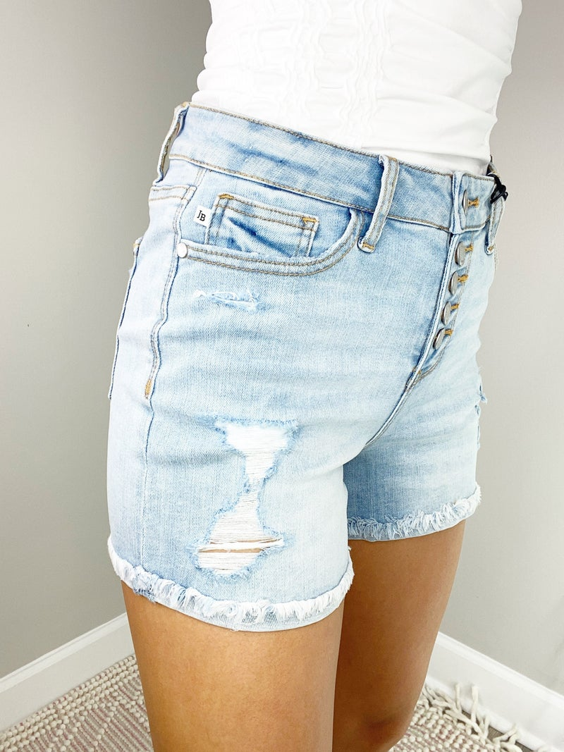 Judy Blue Light Wash Cuffed Button Fly Destroyed Shorts