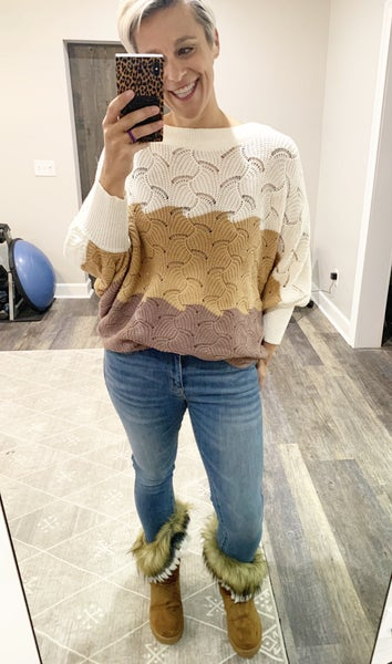 Cozy Colorblock Sweater in Taupe and Mocha