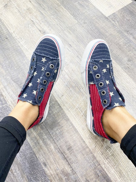 7.5 ONLY - Blowfish Play - Red White and Stars Slip On