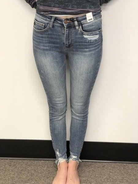 Judy Blue Destroyed Hem High Waist Skinny Jeans *Final Sale*