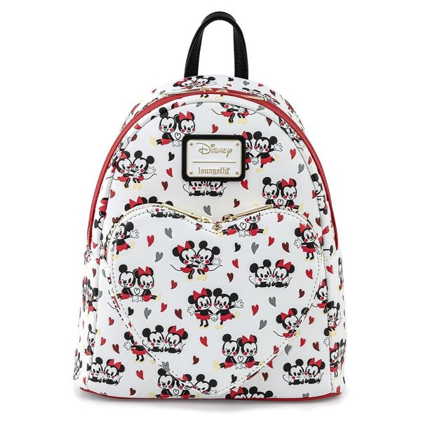 LOUNGEFLY X DISNEY MICKEY & MINNIE MOUSE LOVE HEART AOP MINI BACKPACK