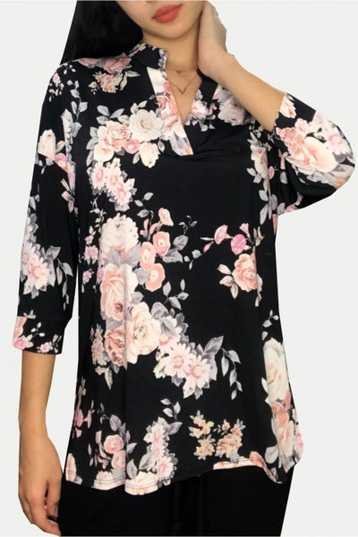HoneyMe Black Floral Boxy Gabby