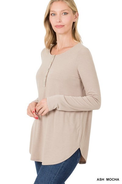 Long Sleeve Dolphin Hem Shell Button Top ***MULTIPLE COLORS***