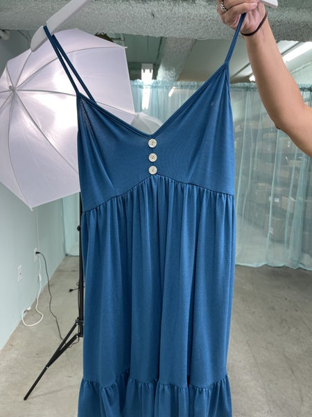 TEAL SLEEVELESS V-NECK WITH BUTTON DETAIL TUNIC TOP/DRESS