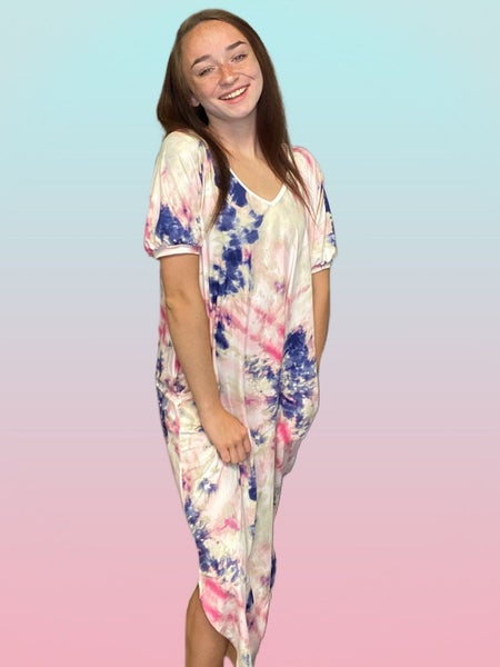 Flamingo Floor Length Tie Dye Dress with Pockets