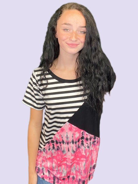 Sew In Love Black & White Stripe with Contrasting Tie Dye Print