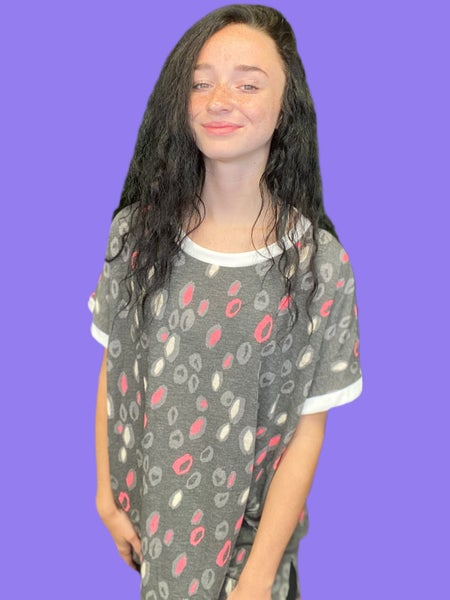 Sew In Love Short Sleeve Charcoal and Pink Animal Print Top
