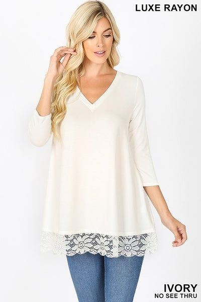 Luxe Rayon Lace Trim Hem Tunic Top in Ivory