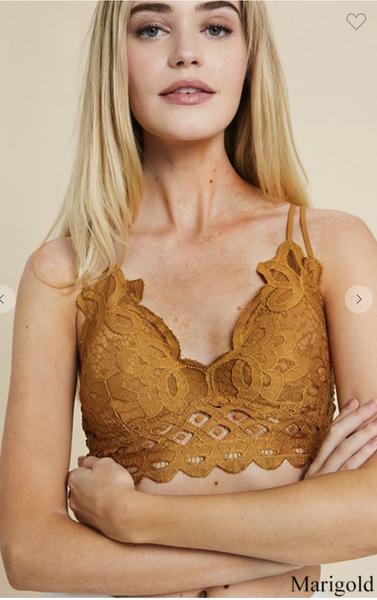 Double Strap Scalloped Lace Bralette in Marigold
