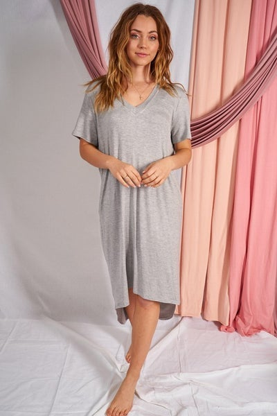 Heather Gray Short Sleeve Solid Knit Dress