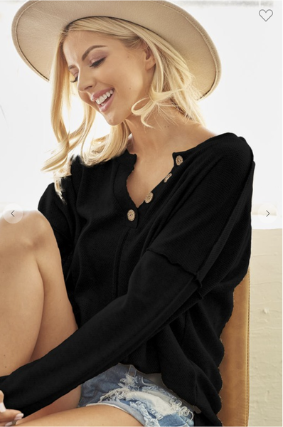 Black V-Neck Sweater with Button Detail