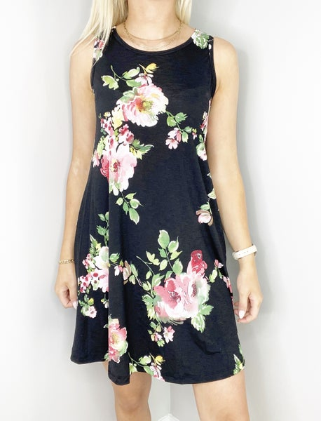 SMALL ONLY Black and Pink Floral Swing Dress