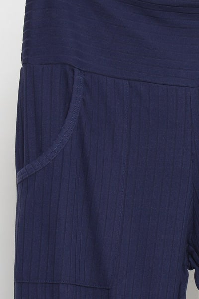 SMALL & MED ONLY - Wide Waist Band Pants in Navy