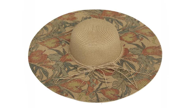 Beige Sun Hat with Colorful Floral Design