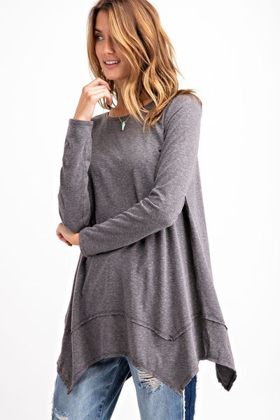 Gray Sharkbite Tunic Top