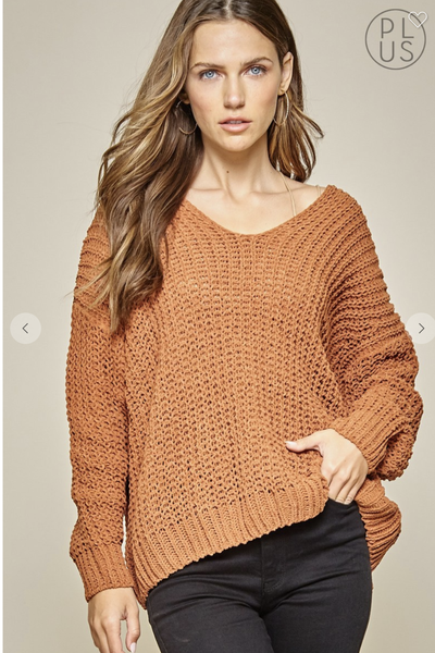 Solid V-neck Sweater in Rust