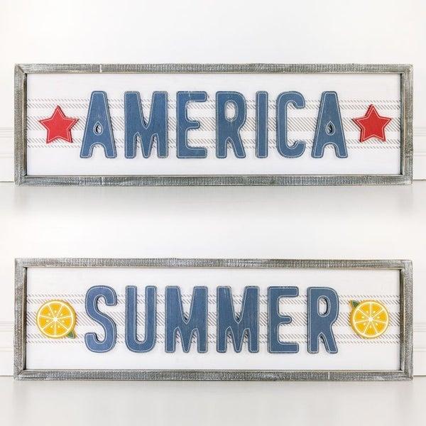 50% OFF! Reversible American Summer Framed Sign