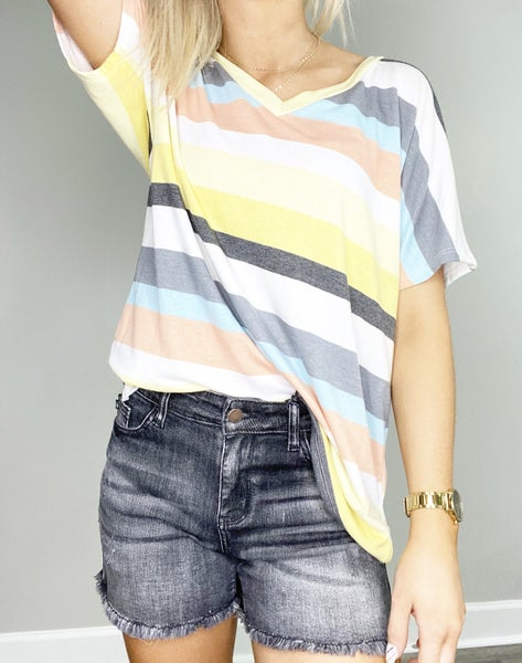 French Terry V-Neck Striped Top
