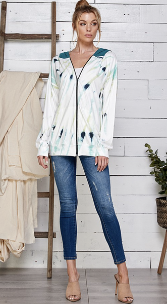 Tie Dye Zip Up Tunic Jacket With Dbl Contrast Hoodie