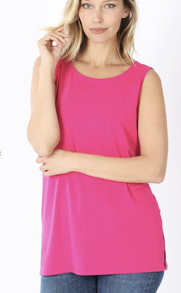 Dressy Sleeveless Round Top***Multiple Colors