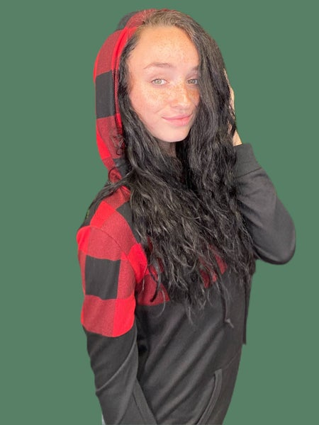 Red & Black French Terry Hoodie with Plaid Contrast