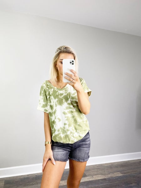 DOORBUSTER Olive Tie Dye Short Sleeve Top