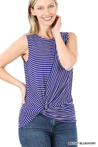 Striped Knot Front Sleeveless Top ***MULTIPLE COLORS***
